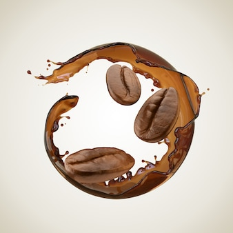 Coffee splash in round shape