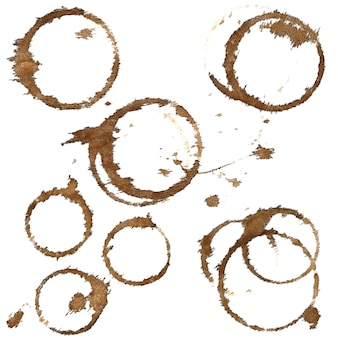 Coffee stains on table-cloth isolated on a white background. set of elements for your design
