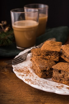 Coffee and sweet chocolate brownies