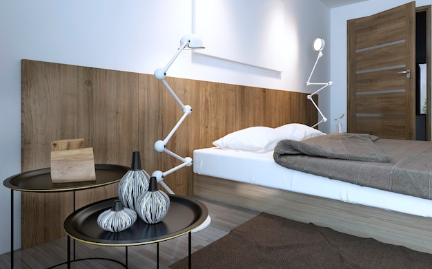 Coffee table and lamp near bed in minimalist bedroom with wall decorative wood panels. brown interior. 3d render