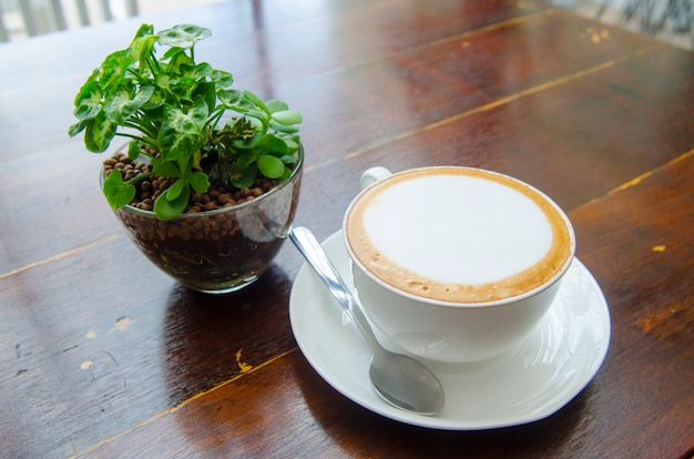 Coffee on the table, latte art