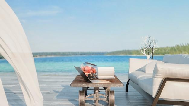 Диван журнальный столик вне дома и оборудование для работы и отдыха 3d и иллюстрация
