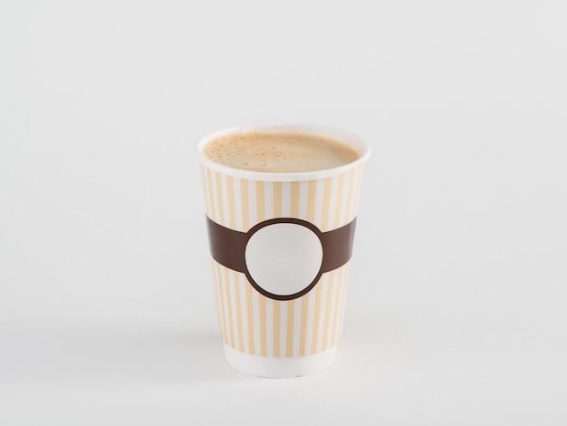 Coffee in takeaway paper cup isolated on white background