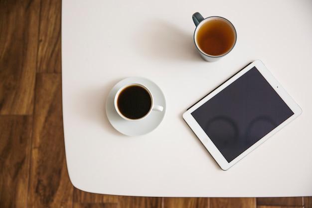 Coffee and tea on table