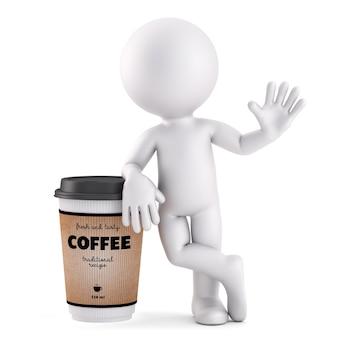 コーヒータイム。 3dイラスト。孤立。クリッピングパスが含まれています