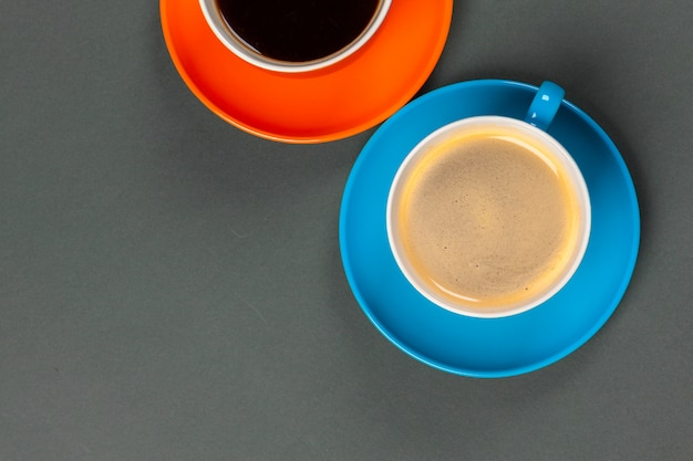 Coffee time. bright colored composition of coffee cups