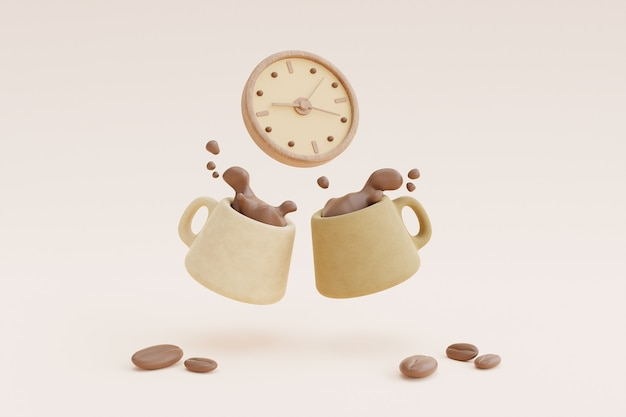 Coffee time concept with coffee cup and clock