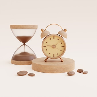 Coffee time concept with coffee cup and hourglass clock