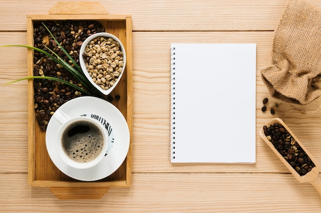 Coffee tray with notebook mock-up