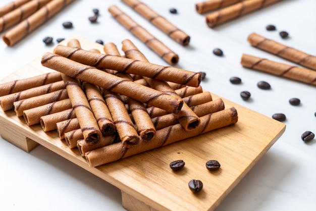 Coffee wafer stick roll with cream