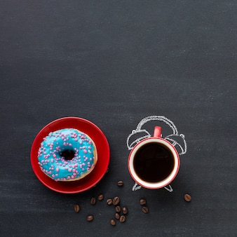 Coffee with alarm clock concept