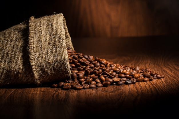 Coffee with grains and empty space