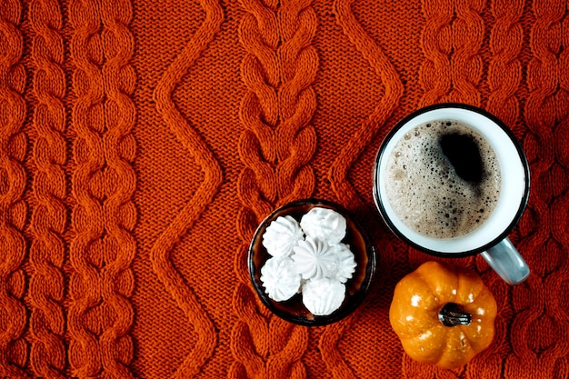 Coffee with marshmallows, autumn scene