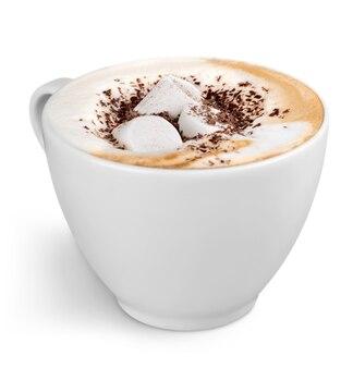 흰색 바탕에 마시멜로와 커피