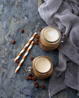 Coffee with milk in jar. selective focus