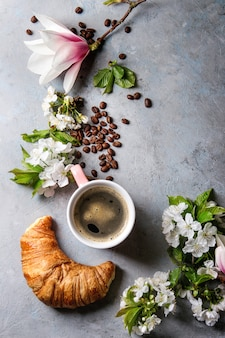 Coffee with spring flowers