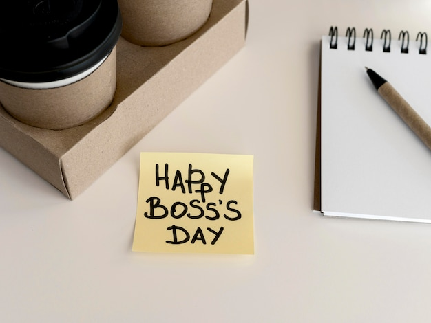 Coffee with sticky note message on desk