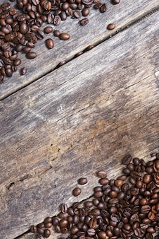 Coffee wooden background
