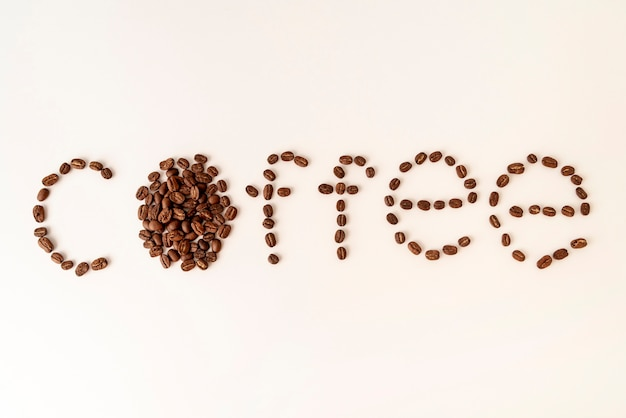 Coffee written in coffee beans