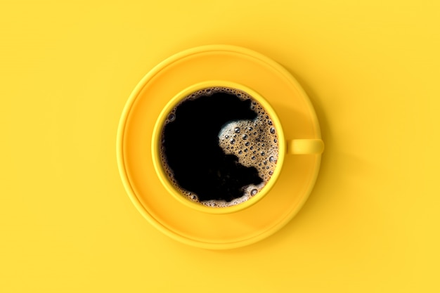 Coffee in yellow cup.