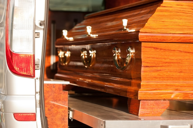 Coffin in hearse