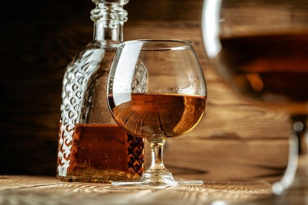 Cognac or whiskey in glasses