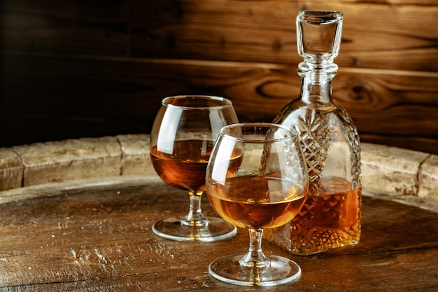 Cognac or whiskey in glasses
