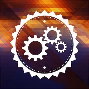 톱니 바퀴 기어 메커니즘. 레트로 라벨 디자인. 삼각형, 색상 흐름 효과의 hipster 배경.