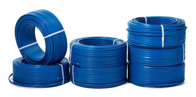 Coils of blue cable isolated