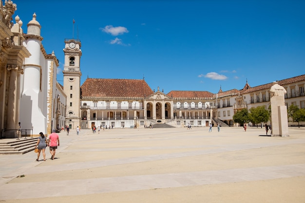 Coimbra university and its great square in blue sky