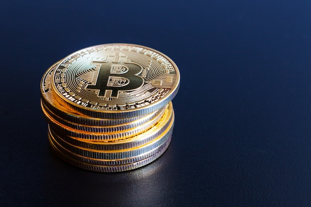 Coin bitcoin in the  surface, cryptocurrency electronic