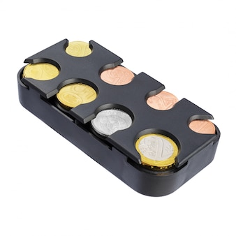 Coin holder with belarusian coins isolated