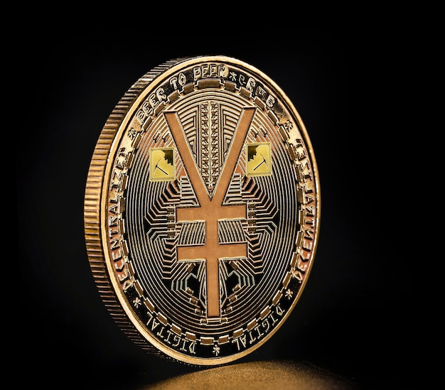Coin minted in gold to celebrate the emergence of e-rmb, digital version of the yuan, china's new digital and virtual currency. coin isolated