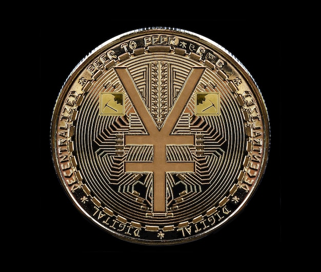 Coin minted in gold to celebrate the growth of e-rmb, china's digital and virtual currency.