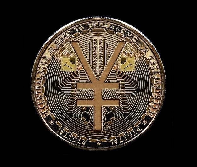 Монета, отчеканенная из золота, в честь роста электронной и виртуальной валюты китая - юаня.
