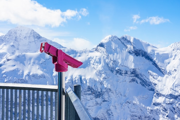Coin operated binocular viewer in schilthorn piz gloria