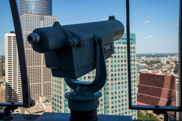 Coin-operated binoculars against downtown minneapolis, hennepin county, minnesota, usa