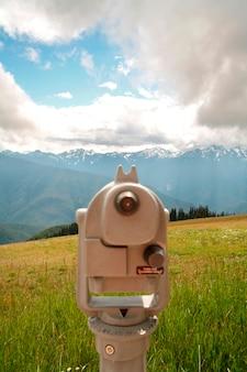 Coin-operated binoculars in field