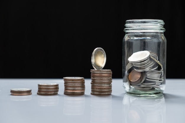 Coin piles and glass for investment in the future