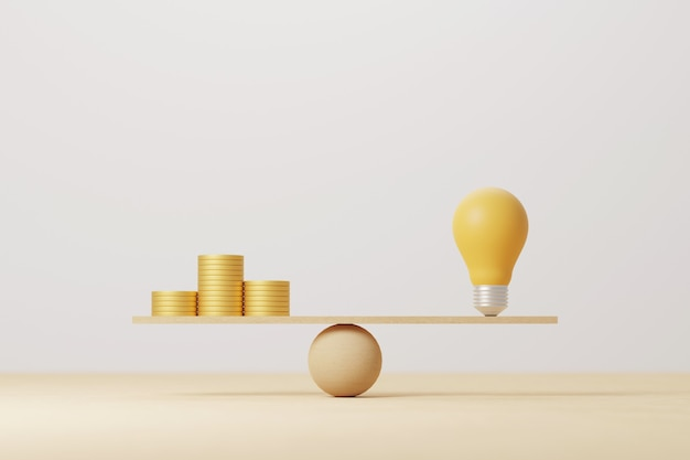 Стек монет сравнить идею лампочки на деревянных качелях. деньги золотая монета сравнивает баланс с концепцией знаний. 3d иллюстрация