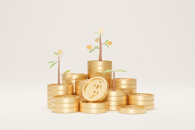 Coin stack growth with tree on white background. growing saving concept. 3d illustration.