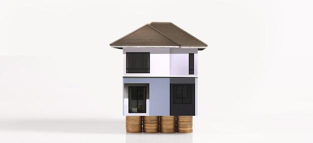 Планы сбережений модели дома стопки монет для концепции жилья, дома и недвижимости