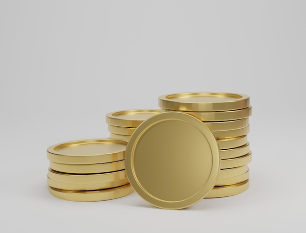 Coin stacks on white background. banking and finance concept. 3d rendering