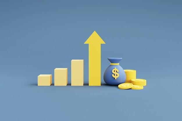 상승 화살표 성장을 보여주는 그래프와 동전 스택