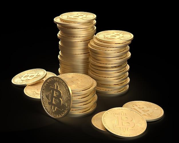 코인 타워 검은 배경에 함께 그룹화된 황금 bitcoins 더미