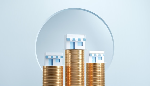 Coin towers with shops on them and blue background