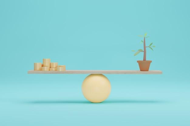 Монета против дерева на весах. значение для зеленой экологии на шкале баланса. 3d-рендеринг.