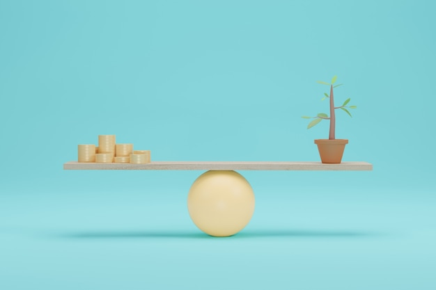 Coin vs tree on scales. importance for green ecology on balance scale. 3d rendering.