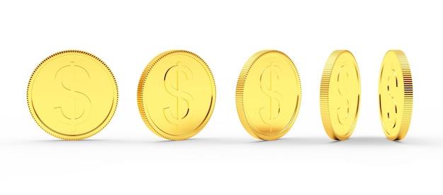 さまざまな角度でドル記号とコインします。