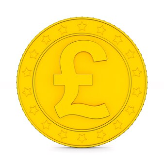 Coin with symbol british pound on white background. isolated 3d illustration